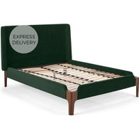 Roscoe Double Bed, Pine Green Velvet