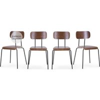 Set of 4 Haywood Dining Chairs, Walnut and Black