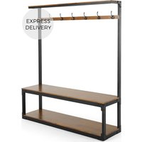 Product photograph showing Layne Extra Large Hall Stand Mango Wood And Black Metal