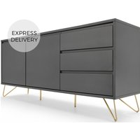 Elona Sideboard, Charcoal and Brass