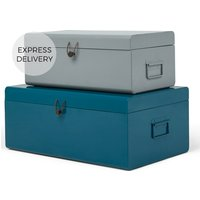 Daven Set of 2 Metal Storage Box Trunks, Teal and Grey