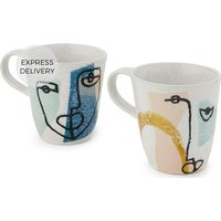 Product photograph showing Salo Hand Painted Set Of 2 Mugs Multi