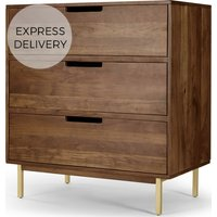 Tayma Chest of Drawers, Acacia Wood & Brass
