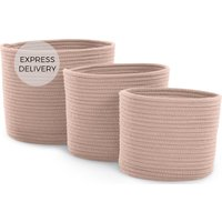 Toro Set of 3 Rope Baskets, Soft Pink