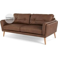 Product photograph showing Sampson 3 Seater Sofa Walnut Brown Leather