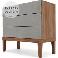Product photograph showing Lansdowne Upholstered Chest Of Drawers Walnut And Heron Grey