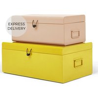 Daven Set of 2 Metal Storage Box Trunks, Pink and Yellow