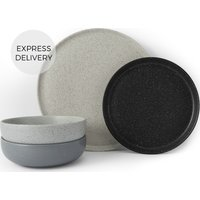 Product photograph showing Omie 12 Piece Speckled Glaze Dinner Set Tonal Grey