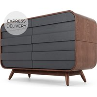 Esme Wide Chest Of Drawers, Dark Stain Ash & Grey