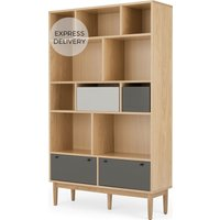 Product photograph showing Campton Wide Bookcase Oak And Grey