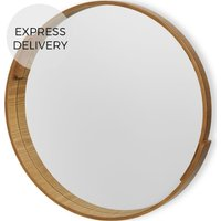 Product photograph showing V And A Plywood Round Mirror 50 X 50 Cm Natural