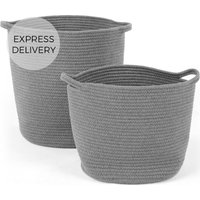 Toro Large Set of 2 Baskets with Handles, Grey