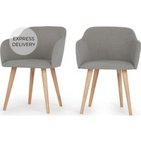 Product photograph showing Set Of 2 Stig Low Back Dining Chairs Manhattan Grey And Oak