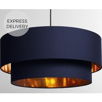 Oro Pendant Drum Lamp Shade Layered  Navy   Copper