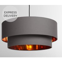 Oro Layered Pendant Drum Lamp Shade  Grey and  Copper