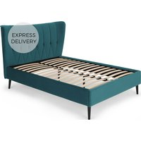 Charley Double Bed, Seafoam Blue Velvet