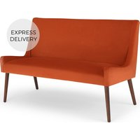 Product photograph showing Higgs Upholstered Bench Flame Orange Velvet