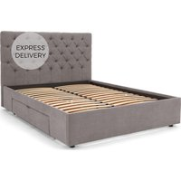 Skye Kingsize Bed with Storage Drawers, Pewter