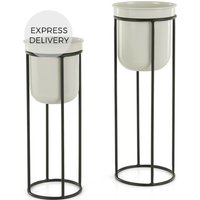 Product photograph showing Looca Set Of Two Metal Plant Stands Ecru