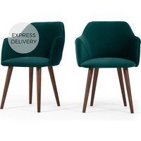 Product photograph showing Set Of 2 Lule Carver Dining Chairs Seafoam Blue Velvet
