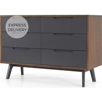 Jenson Wide Chest Of Drawers Dark stain and Grey