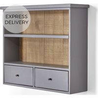 Iona Wall Mounted Shelving Unit, Solid Pine and Pebble Grey