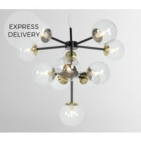 Product photograph showing Globe Chandelier Black Antique Brass And Smoked Glass