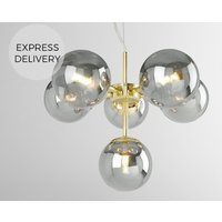 Product photograph showing Globe Pendant Chandelier Small Brass And Smoked Glass