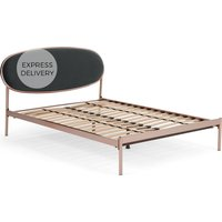 Asare Super King Size Bed, Copper & Midnight Grey Velvet