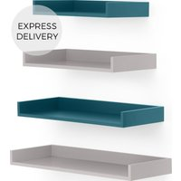MADE Essentials Yumi Set of 4 Wall Shelves, Grey and Blue