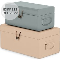 Daven Small Set of 2 Metal Storage Trunks, Pink and Grey