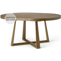 Product photograph showing Belgrave 4- 6 Seat Round Extending Dining Table Dark Stained Oak