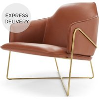 Stanley Accent Armchair, Chestnut Brown Leather with Brushed Brass Frame