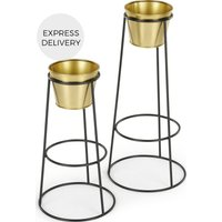 Product photograph showing Ilex Set Of Two Tall Metal Plant Stands Black With Brass Pots