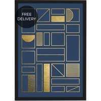 Framework Geometric Grid 50 x 70 Framed Wall Art Print, Navy Blue & Gold Foil