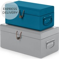 Daven Small Set of 2 Metal Storage Trunks, Teal Blue and Grey