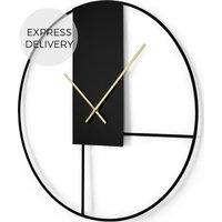 Product photograph showing Outline Large Statement 60cm Wall Clock Matt Black Brushed Brass