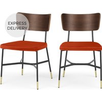 Set of 2 Amalyn Dining Chairs, Walnut and Flame Orange Velvet