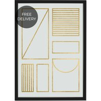 Framework Geometric Grid 50 x 70 Framed Wall Art Print, Off White & Gold Foil