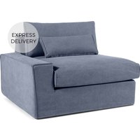 'Trent Loose Cover Modular Left Hand Facing Sofa Arm, Washed Blue Cotton