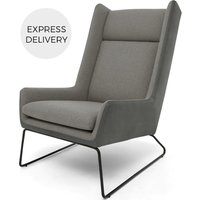 Hicks Wing Back Armchair, Anthracite Grey Leather with Pheasant Grey fabric