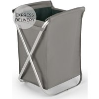 Product photograph showing Ponting Foldable Fabric Laundry Basket With Silver Frame Cool Grey Teal