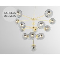 Product photograph showing Globe Statement Pendant Chandelier Extra Large Brass And Smoked Glass