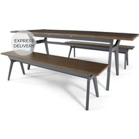 Product photograph showing Jenson 6-8 Seat Extending Dining Table And 2 Benches Dark Oak And Grey