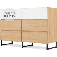 MADE Essentials Hopkins Wide Chest Of Drawers, Oak Effect & White