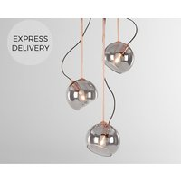 Product photograph showing Gigi Tilting Pendant Chandelier Light Copper And Smoke Glass