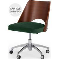 Product photograph showing Hailey Swivel Office Chair Walnut And Pine Green Velvet