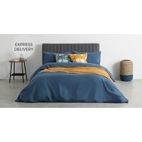Product photograph showing Olga 100 Cotton Pair Of Printed Cushions 50 X 50 Cm Blue Mustard