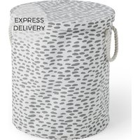 Product photograph showing Made Essentials Jada 100 Cotton Round Printed Laundry Basket Multi