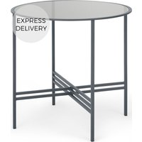 Product photograph showing Made Essentials Poppy 4 Seat Round Dining Table Metal And Smoked Glass